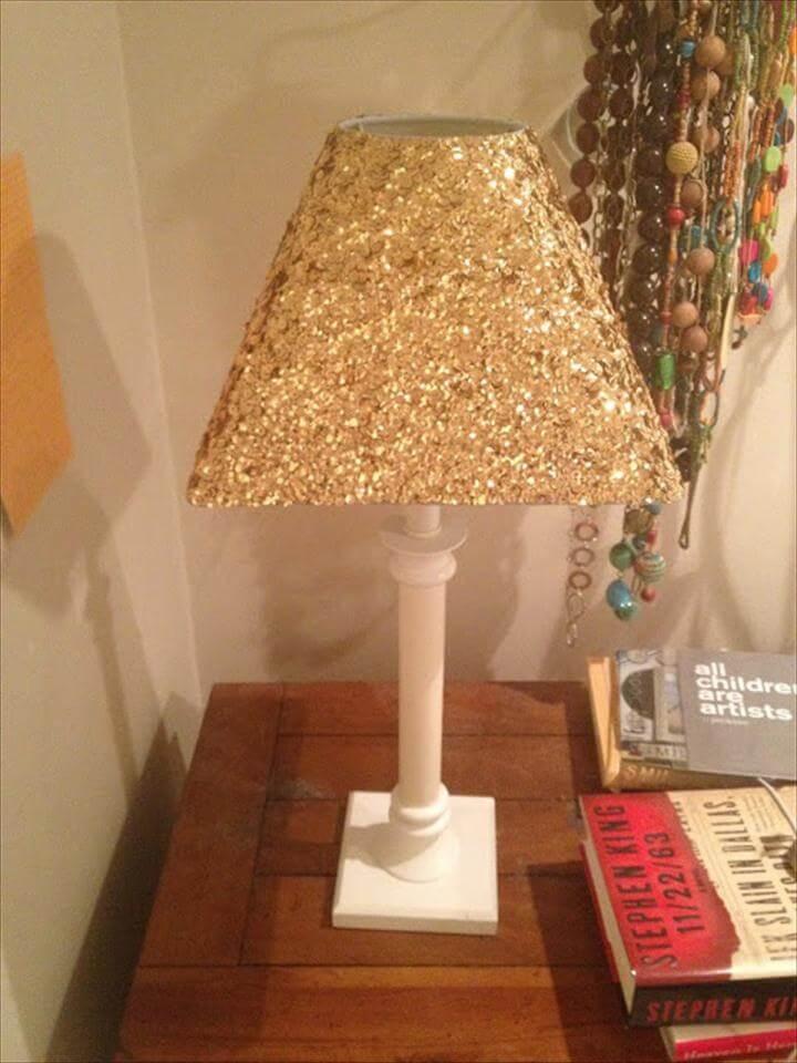 glitter lamp, diy lamp, room decor