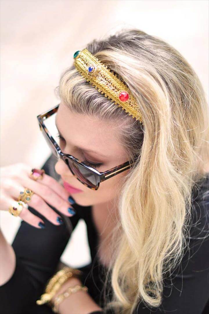 DIY Hair Accessories - Dolce & Gabbana Bejeweled Gold Headband - Create Pretty Hairstyles