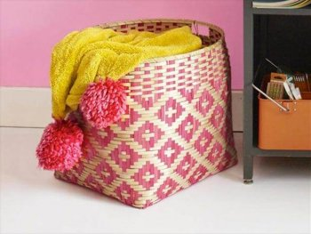 Pom Pom Blanket, storage basket