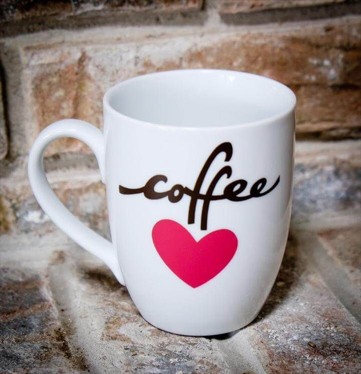 Coffee Love Mug DIY, heart coffee mug