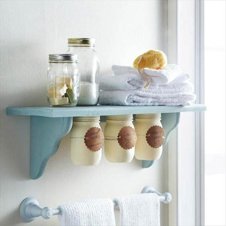 DIY Bathroom Decor Ideas for Teens - Under Shelf Mason Jar Storage - Best Creative,