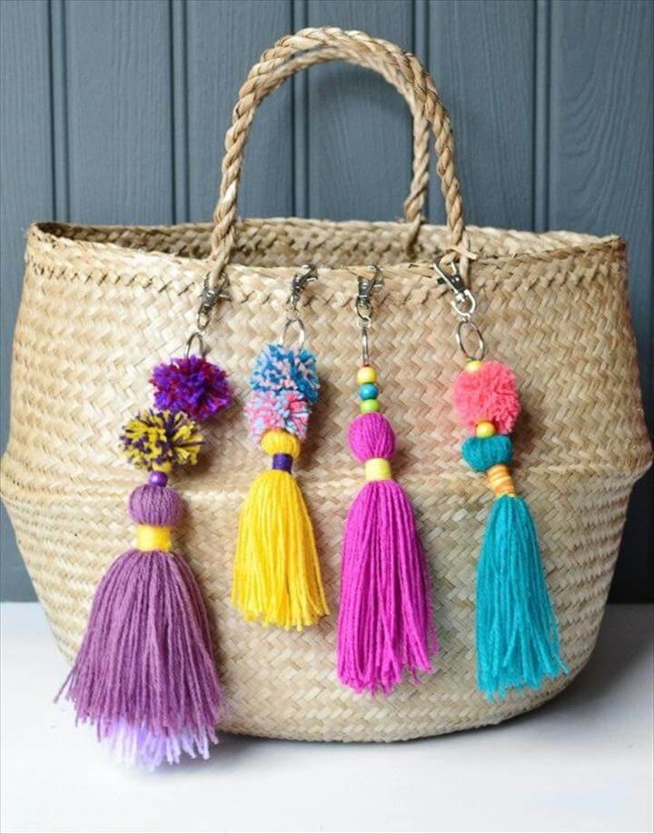 Tassled Bag Charm, Fun And Beautiful Pom Pom Crafts
