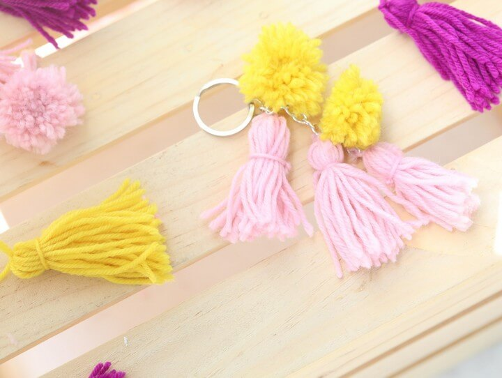 DIY Pompom and Tassel Keychains