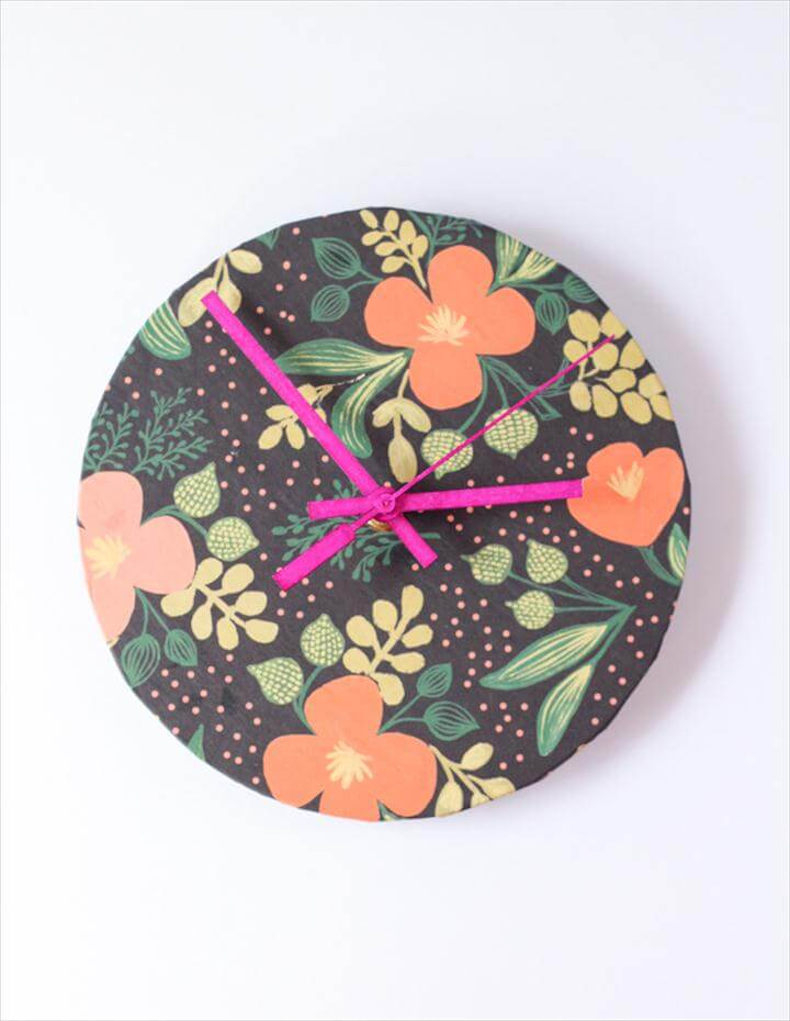 Upcycled Wrapper Paper DIY Clock, DIY Rifle Paper Co Clock
