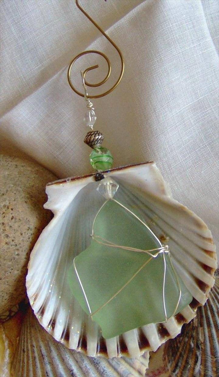 Nantucket Scallop Shell and Sea Glass Ornament