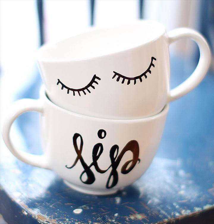 diy mugs, sharpie mug