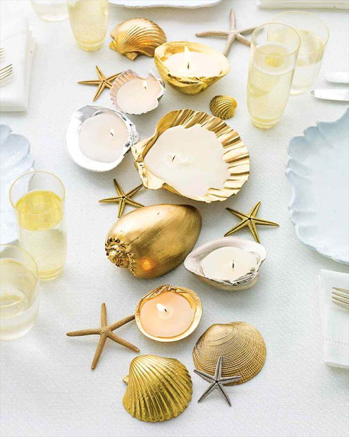 diy candles. seashell candle holder