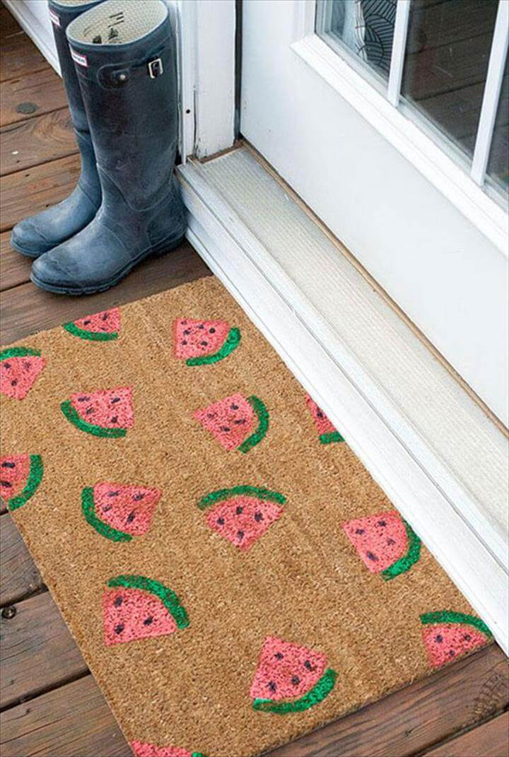 Awesome DIY Summer Projects - DIY Stamped Watermelon Doormat