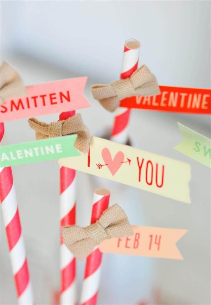 Valentine's Day straws