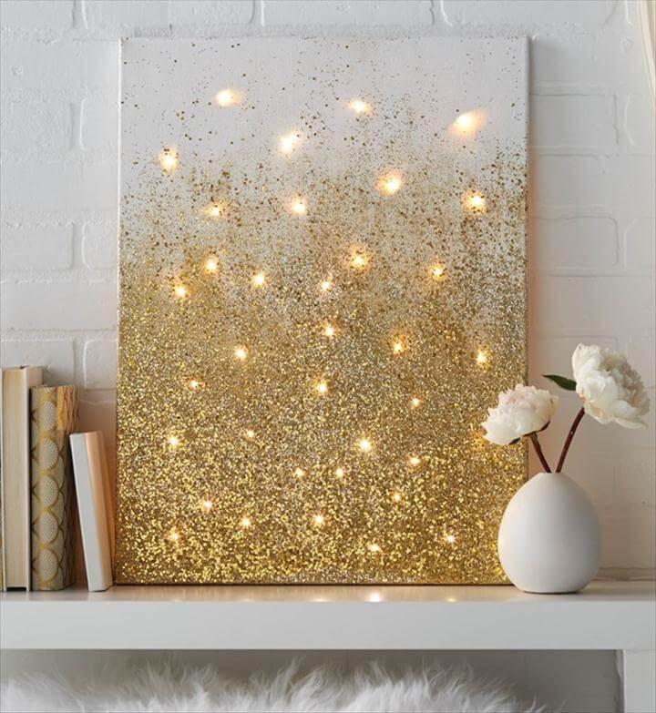 DIY String Light Backlit Canvas Art Ideas Crafts - Light Up Glitter Canvas