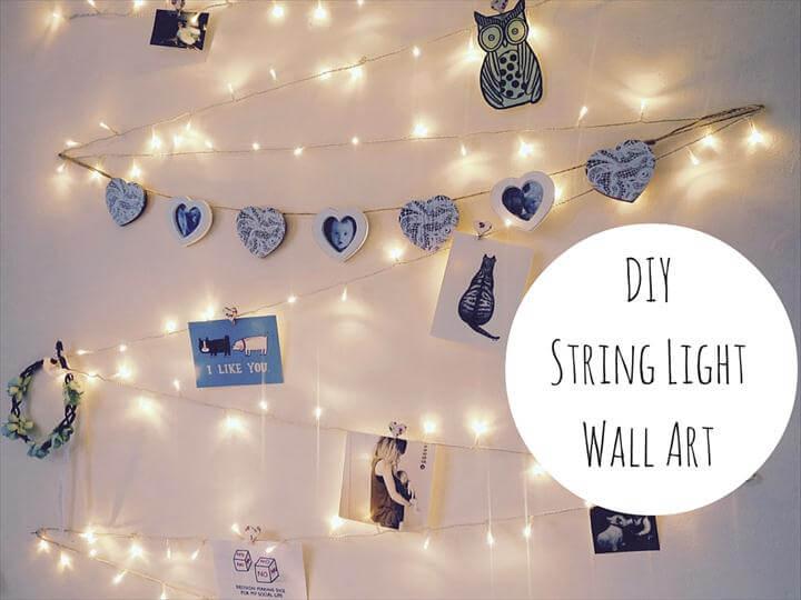 DIY String Light Wall Art Decoration