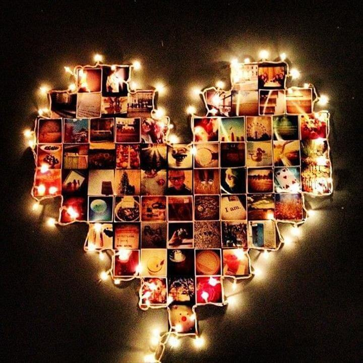 diy heart art, lighting wall art, string art