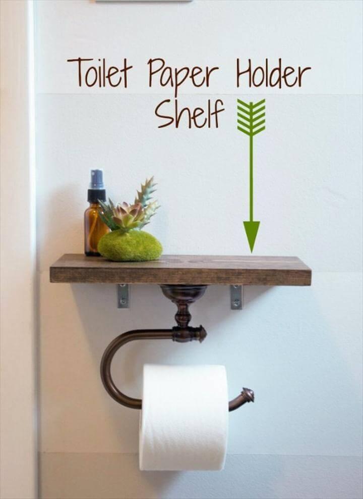 Toilet Paper Holder With Shelf, DIY Bathroom Decor Ideas - Toilet Paper Holder With Shelf - Cool Do It Yourself Bath