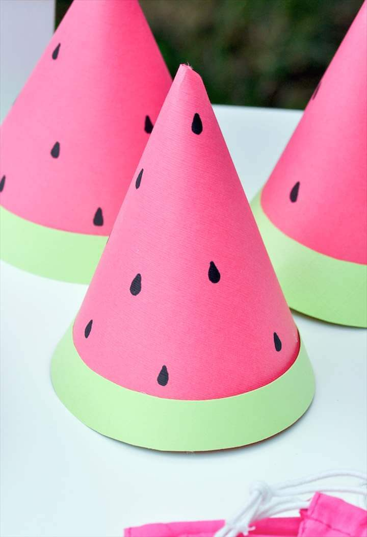 summer cap, diy birthday cap, watermelon cap