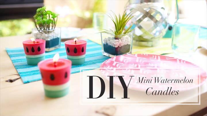 handmade watermelon candles, DIY Easy Mini Watermelon Citronella Candles
