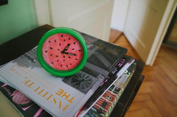 diy clock, watermelon clock