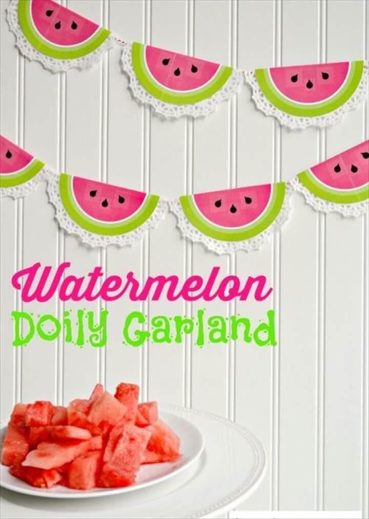 DIY Watermelon Doily Garland, DIY Watermelon Doily Garland
