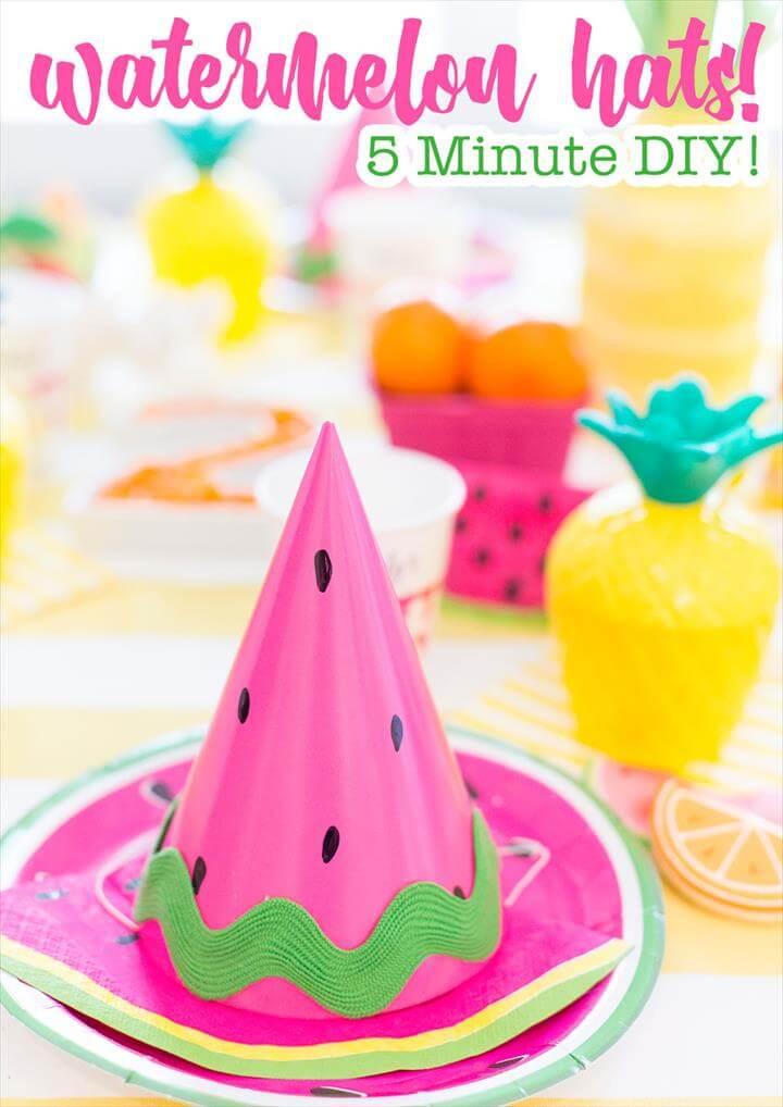 DIY Watermelon Party Hat! Twotti Fruity Themed