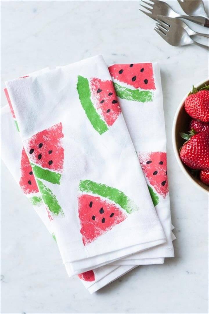 DIY Watermelon Print Napkins