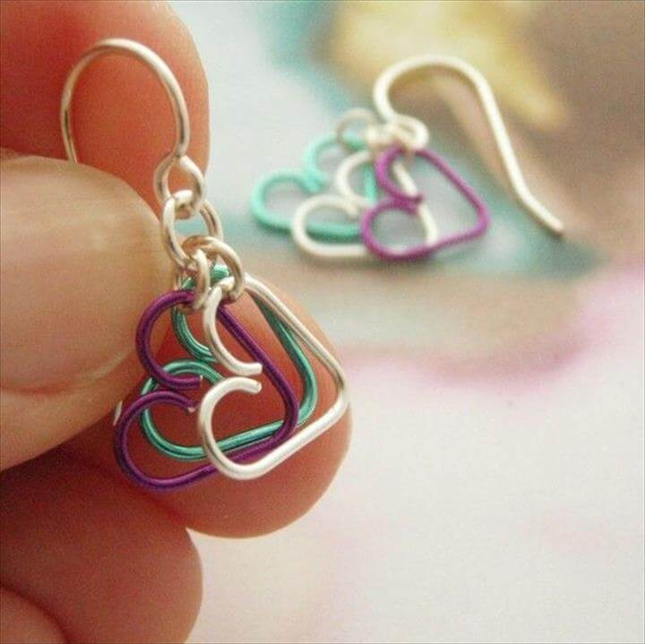 heart earrings, diy wire earrings