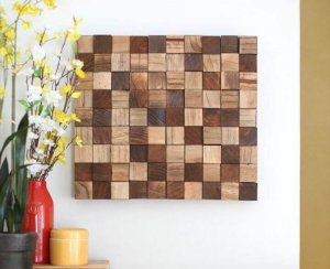 Create this wooden mosaic wall art