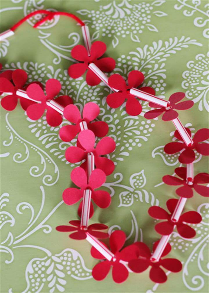 Homemade Hawaiian Leis for Kids Made with Drinking straws and Paper Flowers