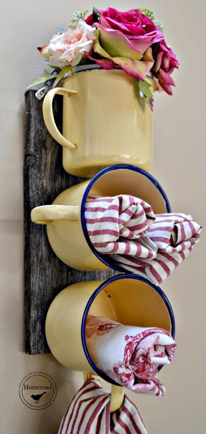 DIY Bathroom Decor Ideas - Enamel Mug Bathroom Organizer - Cool Do It Yourself Bath Ideas