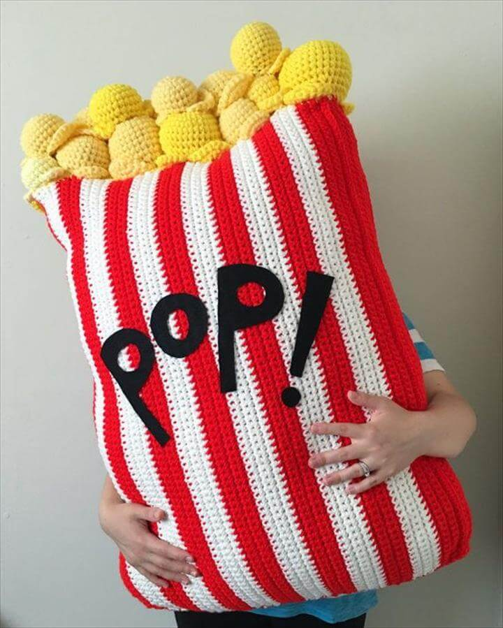 Extra Large Crochet Popcorn Food Floor Pillow