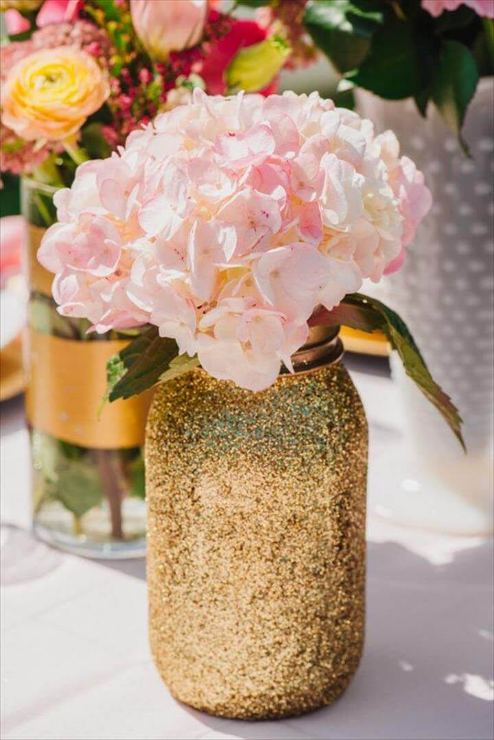 Gold Glitter Mason Jar-Quart Sized-Glitter, Gold Glitter Mason Jar