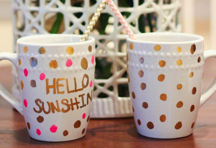 Polka dot, DIY Gold Polka Dot Coffee Mugs