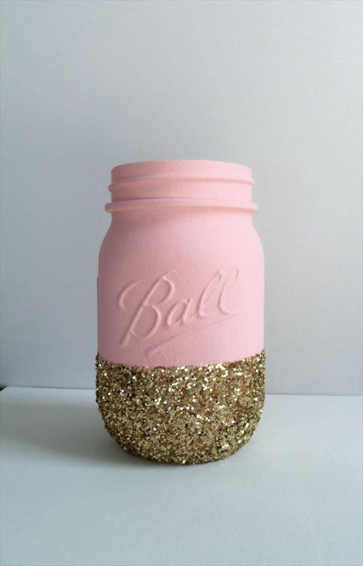 Gold Glitter Mason Jar- Pale Pink. Perfect for Weddings, Babyshowers,