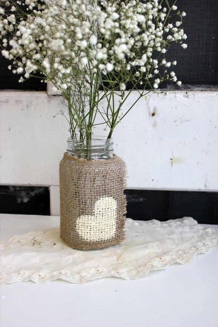 wedding decoratos using mason jars | rustic burlap wedding mason jar centerpieces . woodland wedding .