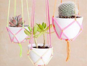 DIY Hanging Planters Using Plasic Straws and Yarn