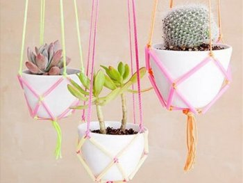 DIY Hanging Planters Using Plasic Straws and Yarn