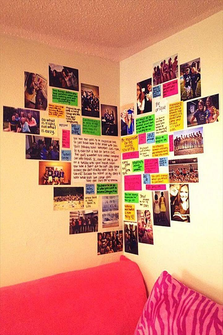 Heart Photo Wall. Cute DIY Room Decor Ideas