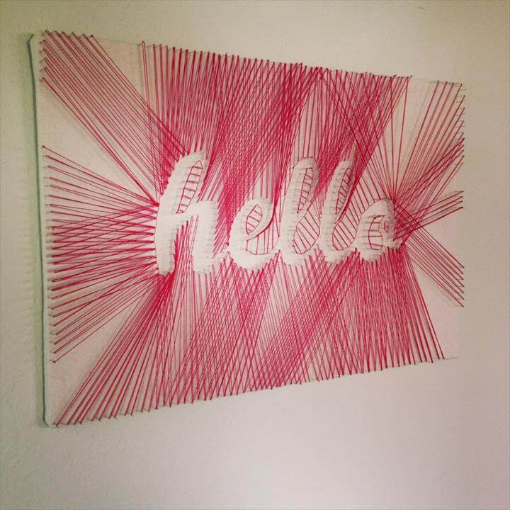 """Hello"" DIY String Art – DIY Projects-Weekly DIY Ideas: RED DIY"