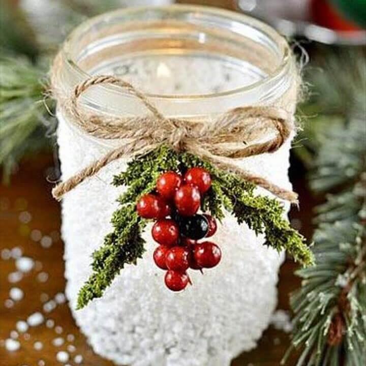 DIY Snowy Mason Jar