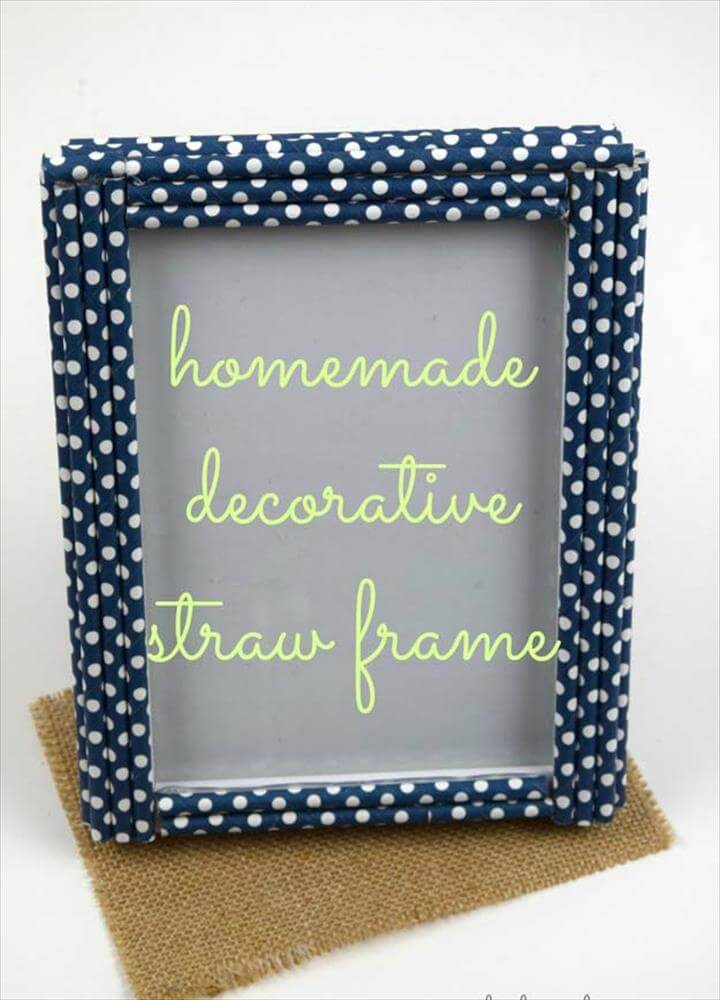 diy straw picture frame