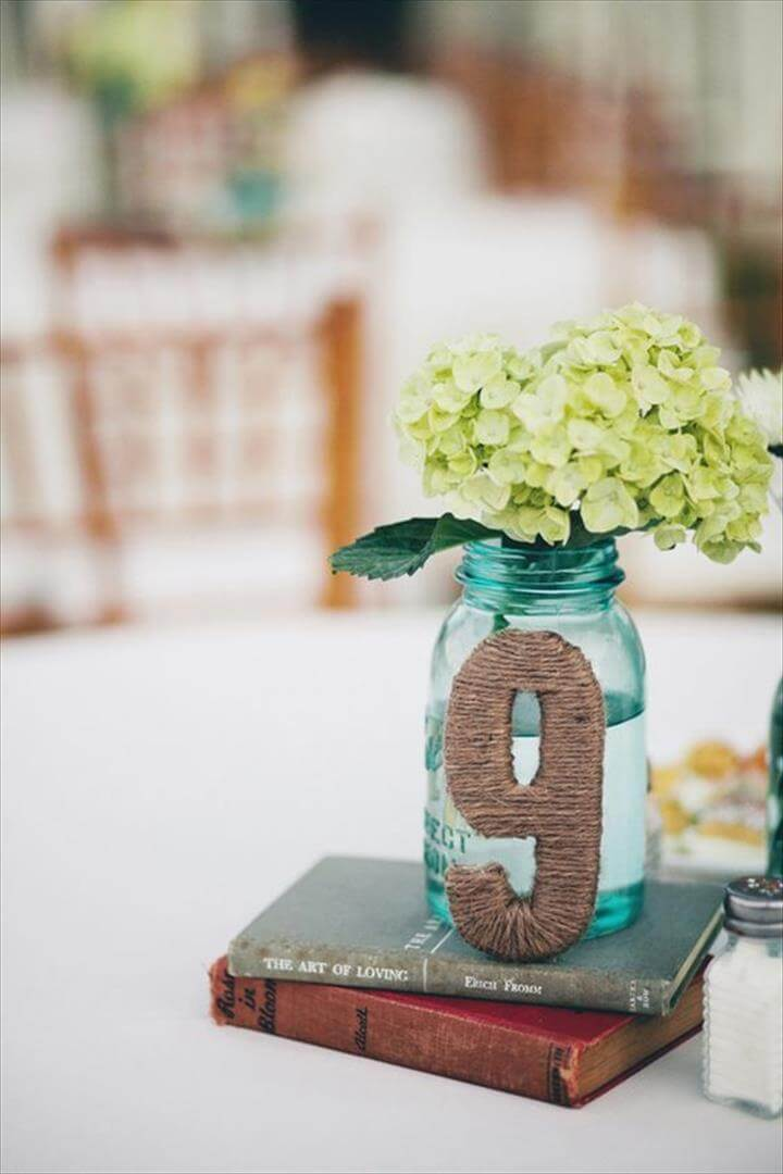 Wedding Table Number & Centerpiece with Mason Jar