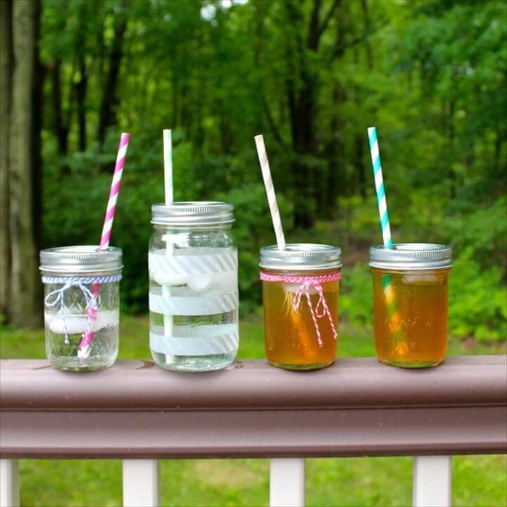 Mason Jar Travel Cups with Straw