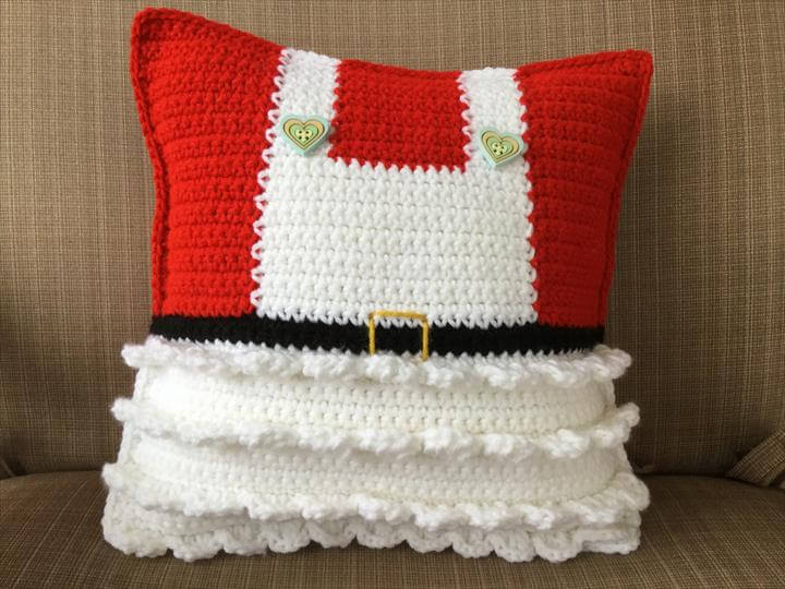 Mr and Mrs Claus Crochet Pillow