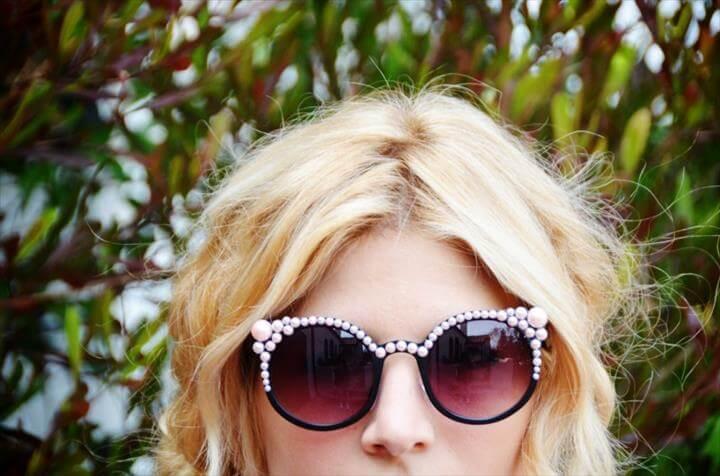 DIY pearl encrusted sunglasses