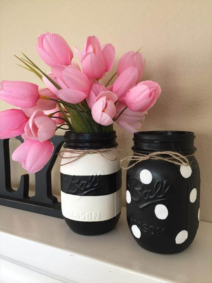 Black & White Mason Jars - Stripes and Polka Dots, Polka Dot Bathroom ideas