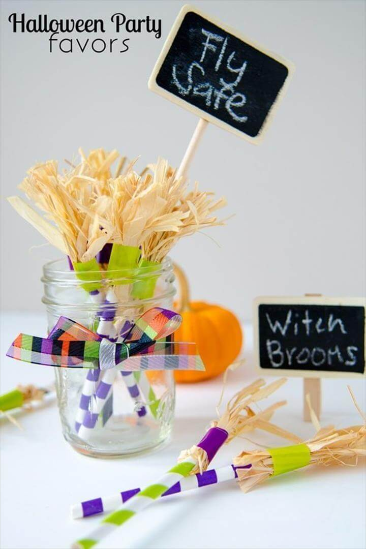 DIY Home decor craft ideas: Paper Straw Witch Brooms