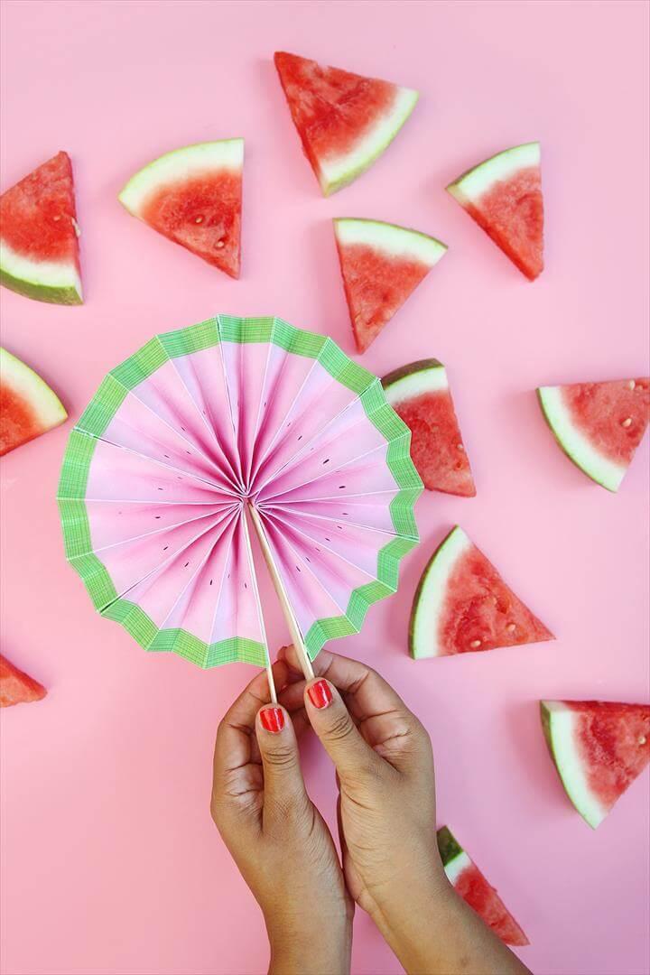 Easy Paper Watermelon Fans