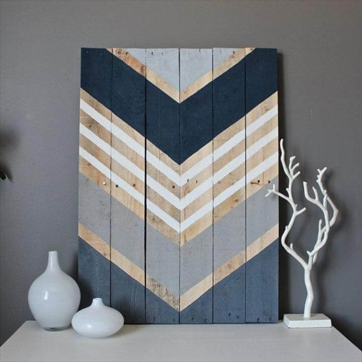 Scrap Wood Chevron ArtA few pieces of scrap wood, a bit of stain and some craft paint and you can create a rustic and custom-coloured scrap wood chevron art piece.