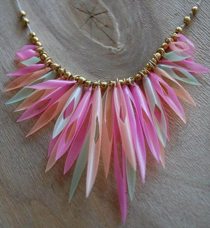 Pink Green and Orange Plastic Drinking Straws Necklace