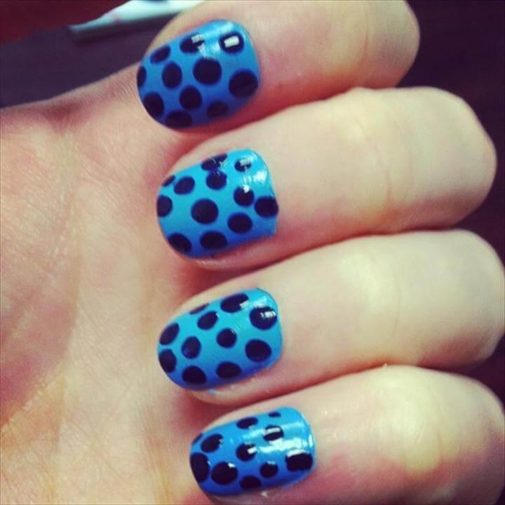 easy diy nail polish, polka dot nail polish idea
