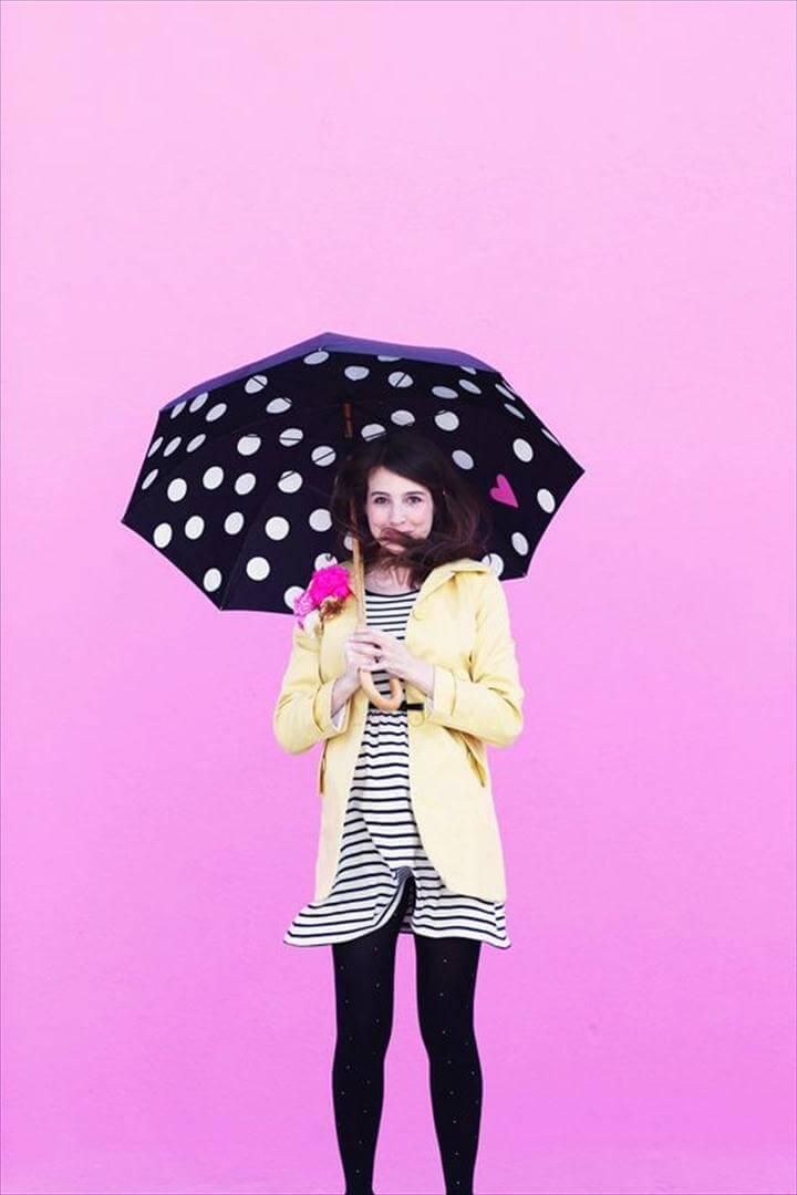 Paint poka dots on umbrella - great craft ideas