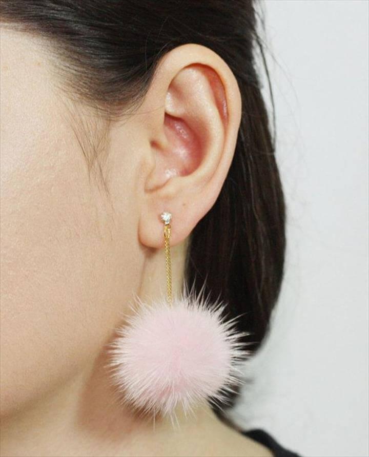 Pom Pom Earrings, Mink Fur Pom Pom Earrings, Fur ball Earrings, Pompom earrings